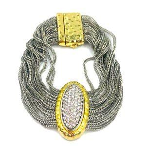 Designer Silver Cable Gold Crystals Chain Bracelet